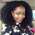 U Parte Peluca 150% Densidad Rizado Rizado Mongol Humano Del Frente del Cordón Pelucas de pelo Para Las Mujeres Negras Afro Rizado U Parte Pelucas de Cabello Humano