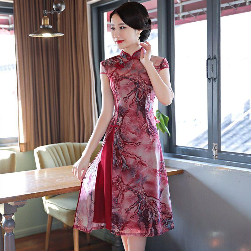 New Arrival Chinese Women s Knee Leng Cheongsam Fashion Short Style Qipao Chiffon Dress Vestido Size
