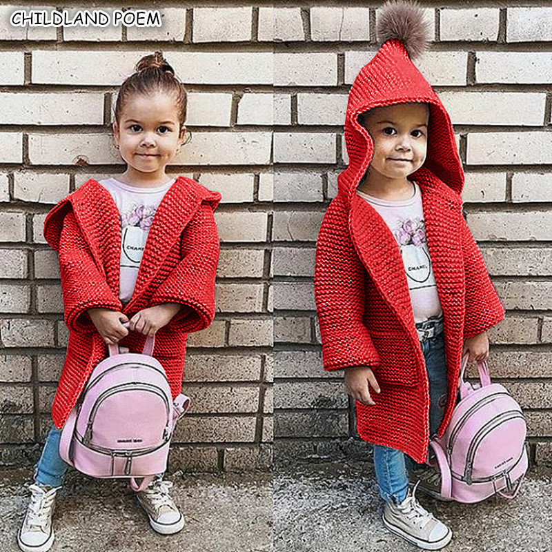 Baby Girls Sweater Coat Autumn Toddler Sweater Long Sleeve Cardigan For Girls Hooded Kids Girls Knitted Clothes Girls Pullover sweet bow girl sweater cardigan coat autumn kids knitted cotton sweater for baby girl long sleeve o neck cardigan girls clothing
