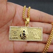 Collier avec pendentif en argent pour homme, chaîne en acier inoxydable/or, strass, style Hip Hop, Bling, 100 $ US