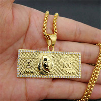 US $100 Dollar Money Necklaces Pendants Male Stainless Steel/Gold Color Chain For Men Rhinestone Hip Hop Bling Jewelry