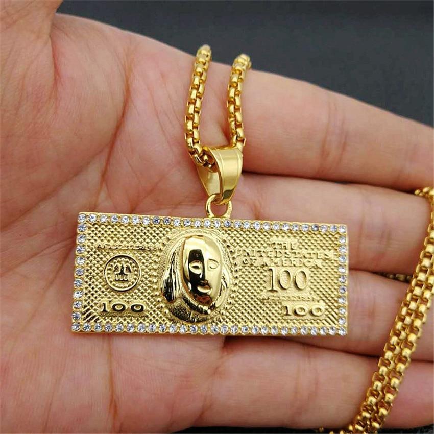US $100 dólares dinero collares colgantes masculino de acero inoxidable/Cadena de Color dorado para hombres Rhinestone Hip Hop Bling Jewelry Collier Collar de barra larga hecho a mano 100% 925, joyería de plata, gargantilla de oro, colgantes, collar de mujer, collar Kolye para mujer