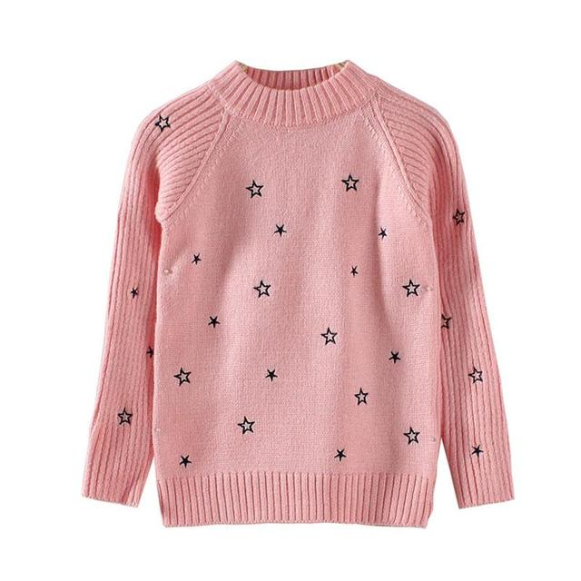 Children new winter autumn sweater girls five-pointed star embroidered collar knit girls sweater