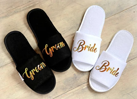 0abda92ce5b4e US $10.28 17% OFF|personalize glitter gold Wedding Slippers Bride Slippers  Groom Slippers custom Print shoes Black slippers-in Party DIY Decorations  ...