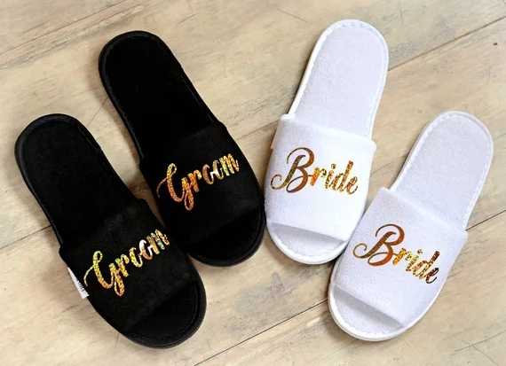 ff17c8077a8d46 personalize glitter gold Wedding Slippers Bride Slippers Groom Slippers  custom Print shoes Black slippers