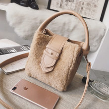c64a9ccab760 ETAILL Winter Faux Fur+Pu Leather Winter Bags Luxury Brand Bucket Bag  Top-Handle