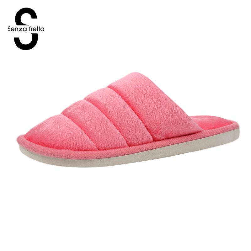 Senza Fretta Winter Velvet Slippers Female Male Pure Color Slippers  Indoor Warm Slippers Women Men Warm Floor Plush Home Shoes цена и фото