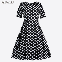ROPALIA Summer Polka Dot Vintage Dress Elegant Women Short Sleeve Work Office Casual Party A Lin Dresses Vestido T7 1