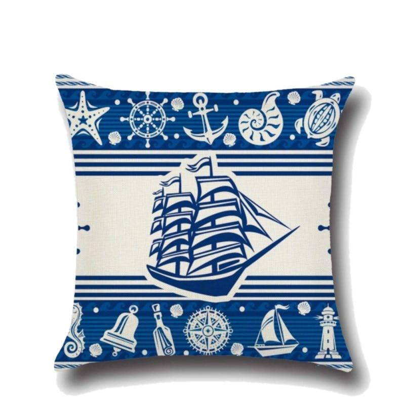 Anchor Boat Sea Series Navigation Cotton Linen Throw Pillow Cushion Cover Home Decoration Sofa Bed Decor Pillowcase