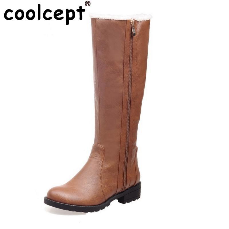 Coolcept 4 Colors Women Half Short Boots Flats Snow Boots Cold Winter Shoes Zipper Mid Calf Boots Women Footwears Size 34-39