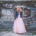 Chegada nova Dreamlike Rosa Saias Longas de Tule Uma Linha Até O Chão Em Camadas de Tule Saia Longa 2016 Outono Moda Saia Maxi