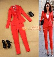 2017 Primavera e No verão das mulheres novas Magro minimalista terno + 9 pequeno vermelho calças pés calças two-piece terno