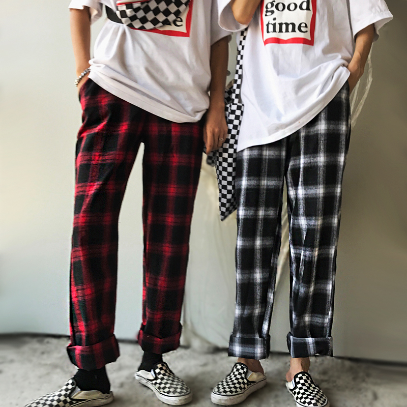 2019 Autumn Winter Sweat Pants Women Streetwear Fashion Harajuku Plaid Pants Lovers Loose Casual Wide Leg Pants Female Clothes