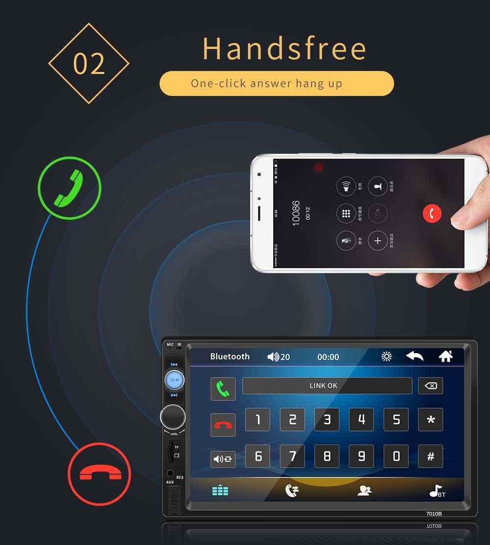 """רכב רדיו HD 7 """"מסך מגע Autoradio 2 דין קלטת מקליט אודיו Bluetooth מבט אחורי מצלמה MP5 מראה קישור נגן 7010B"""