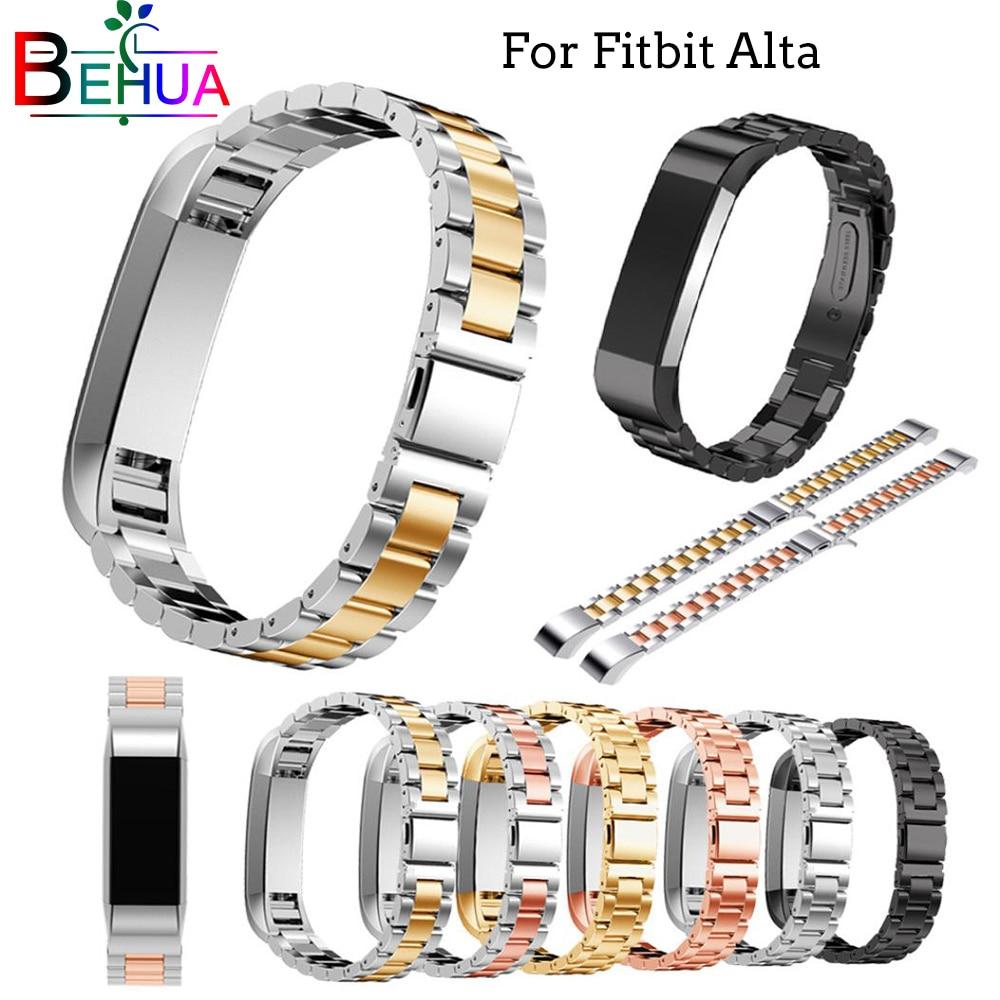 Pulseira de relógio de aço inoxidável, pulseira de substituição para fitbit alta hr, acessórios de pulseira de relógio
