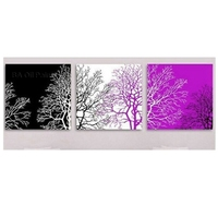 3pcs Purple White Black Tree paintings HAND PAINTED Modern Decoration Wall Art Oil Painting Abstract Classical Gift wall Picture