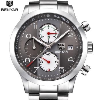 2018 New Watches Men Luxury Brand BENYAR Chronograph Sports Watches Waterproof Stainless steel Quartz Man Watch Mens Relogio