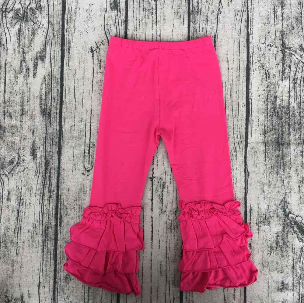 563f07b76976c ... Children Solid Color Icing Ruffle Capri Pants baby born clothes triple  ruffle Leggings cotton stems wholesale ...
