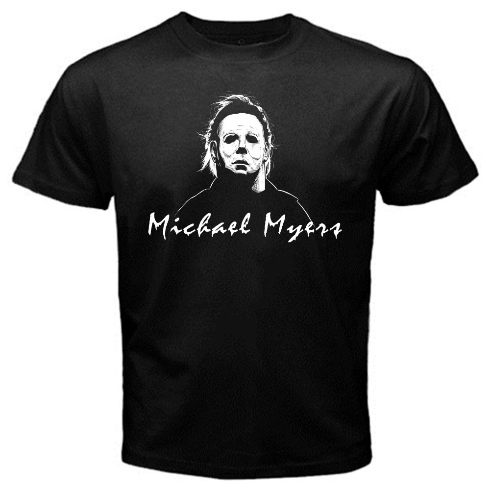 Vintage Tee Shirts Short Sleeve Printing Machine Crew Neck Mens Michael Myers Mask Movie Vintage Halloween T Shirts