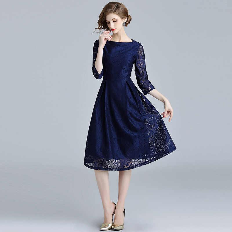 7f880b892b36f Autumn Women Hollow Out Blue Lace Dress Ropa De Mujer 2019 Rockabilly Midi  Skater Office Party Dress Lange Jurken K5754