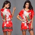 Playa de Las nuevas Mujeres vestidos de Verano impresión de la Vendimia Floja Del Batwing de la Mariposa Manga corta Casual Boho Mini vestidos con Los Marcos B8804