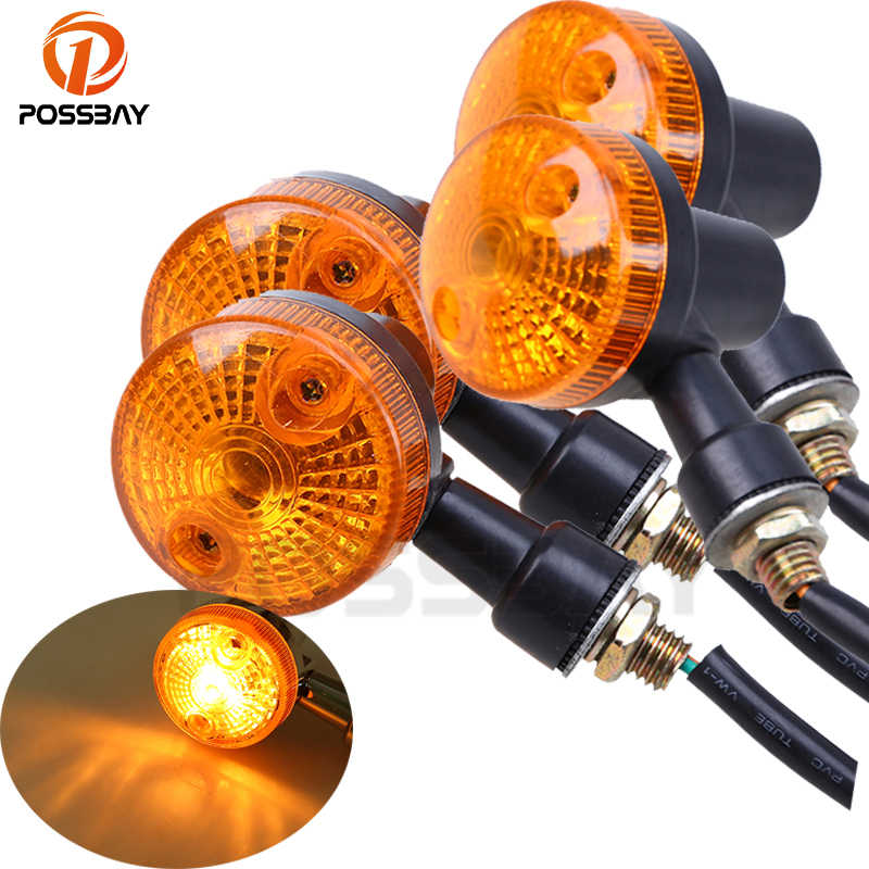 POSSBAY 4PCS Motorcycle Turn Signal Lights Indicator Lamp Amber Flashers for Kawasaki Suzuki Harley Honda Cafe Racer Turn Lamp