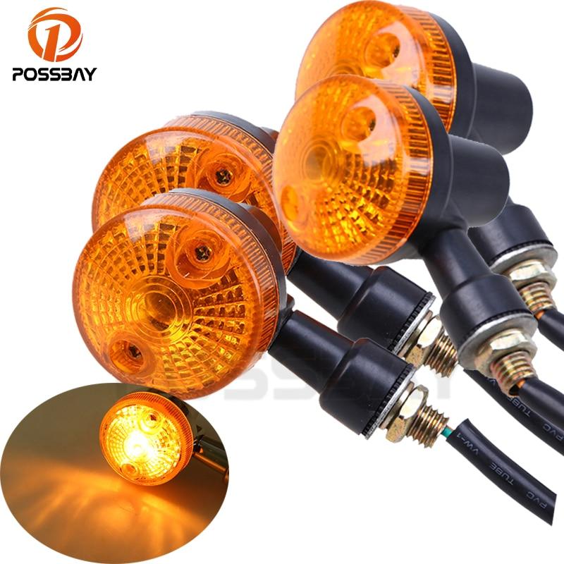 POSSBAY 4PCS Motorcycle Turn Signal Lights Indicator Lamp Amber Flashers For Kawasaki Suzuki Harley Honda Cafe Racer Turn Lamp