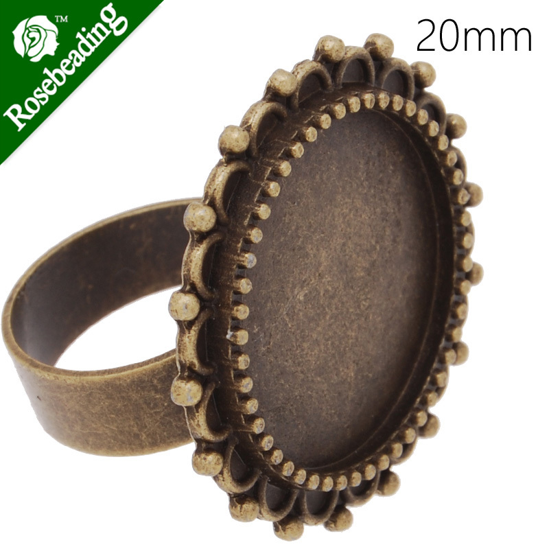 Circle Adjustable Ring with 20MM Round Ornate Bezel ,Antique Bronze,zinc alloy filled,20pcs/lot-C4199