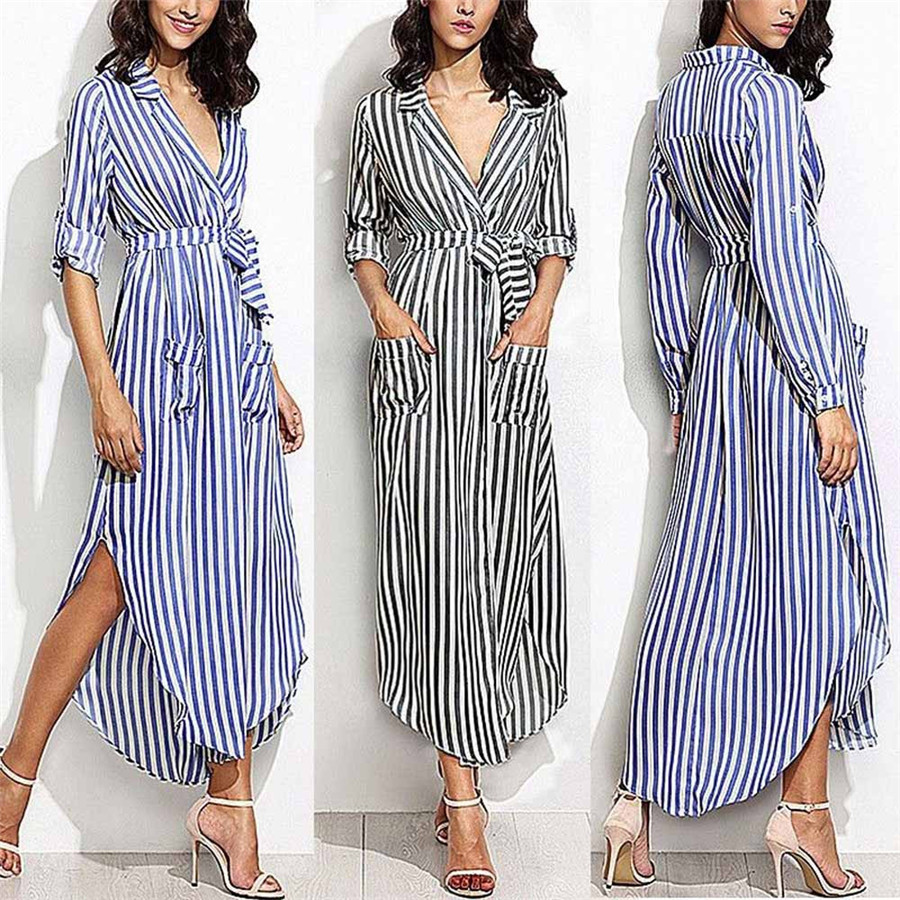 New Style Womens Stripe Belted Deep V Neck Long Sleeve Top Blouse Long Maxi Dress Sexy Fashion Hot Sales Dresses Wolovey#15