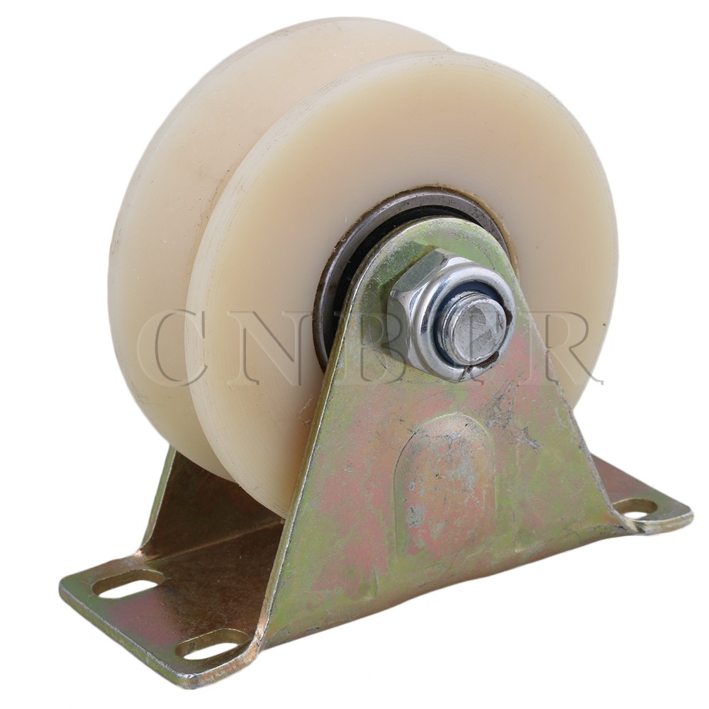 CNBTR 2.5 Dia Beige 45# Steel Nylon Groove Fixed Caster Track Roller Wheel Top Plate Load 150KG for Industrial Machine Tool