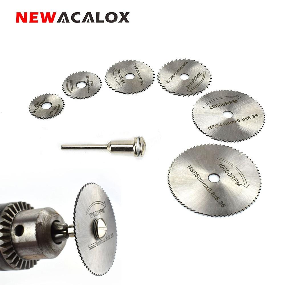 NEWACALOX 6PCS HSS Rotary Tool Woodworking Circular Saw Blades Fits Dremel 1/8