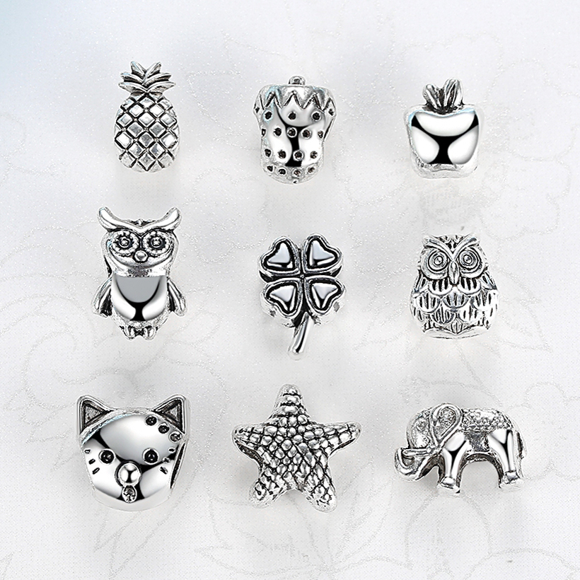 2018 Cute Ananas Starfish Clover Owl Alloy Bead Charms Silver Plated Beads Fit Pandora Bracelets & Bangles Necklace DIY Jewelry