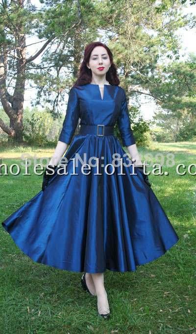 Top Fasion Natural Satin-Parole longueur robe de Bal Manches Longues Coton Vintage Vêtements Robe Partie