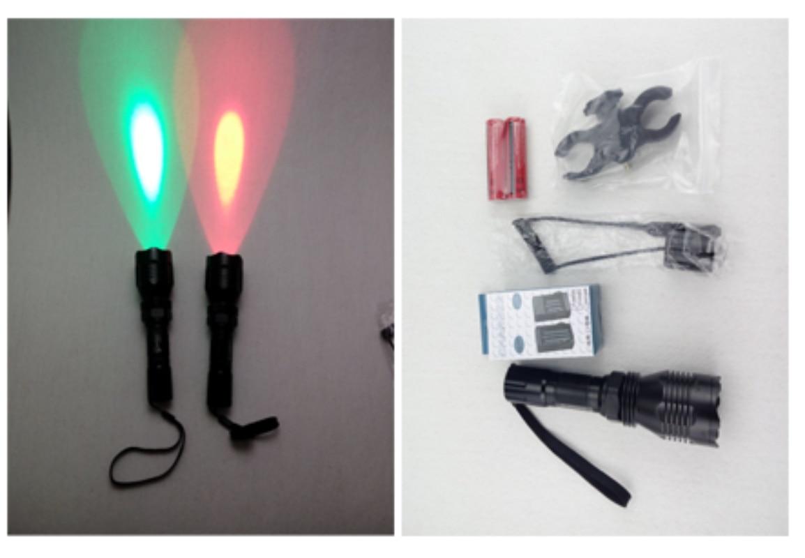 Dritë LED-gjuetia e dritës së dritës LED Dritë e kuqe e dritës së dritës së dritës CREE XM-L R2 350 lumens mode / off me modalitetin e shtypjes në distancë 18650