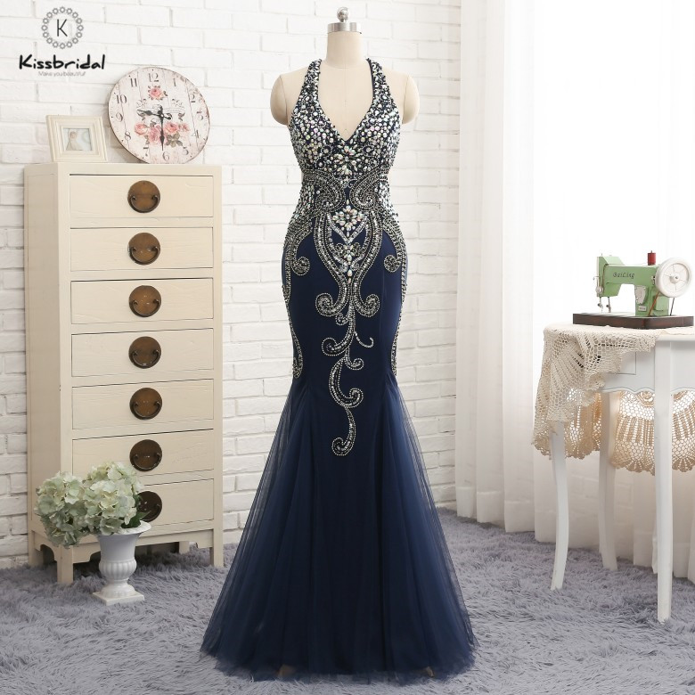 vestido de festa longo Sexy Backless   Evening     Dress   Long Beading Hlater Neck Tulle   Evening   Party Gown