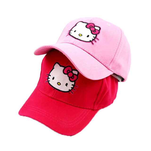 cd63534e7aee3 Girls Ponytail Baseball Hat Solid Cotton Hat Adjustable Hello Kitty  Baseball Caps Kids Spring Summer Girl Baseball Cap Child Cap