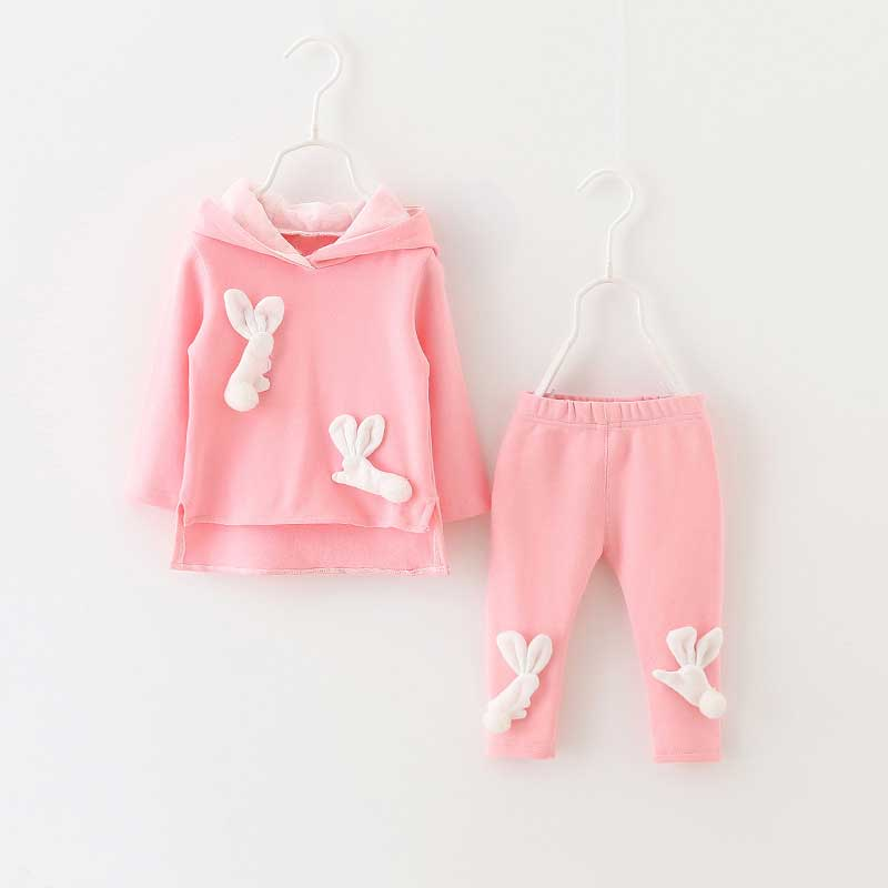 Spring autumn Baby Infants Girls long Sleeve Rabbit ear Hooded coat Sweater Hoodie Top + pant 2pcs Clothing Set Roupas S4897 2017 new style spring autumn hoodie baby girl clothing set sequin lace long sleeve velour sports jacket long trousers outfits