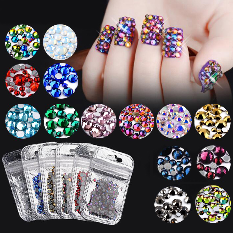 1Pack Colorful Mixed Size Nail Art Rhinestones Shiny AB Crystal Non Hotfix Flatback Glass 3d DIY Gems Manicure Nails Decorations super shiny 1440pcs ss8 2 3 2 4mm clear ab glitter non hotfix crystal ab color 3d nail art decorations flatback rhinestones 8ss