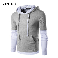 Fashion Self Cultivation Stitching Cuffs Hat Ribbon Men S Long Sleeve T Shirts Hooded Sleeves Fashionable