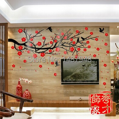 2015 Plum Flower Tree Acrylic Crystal 3d Wall Stickers Living Room Sofa Entrance TV
