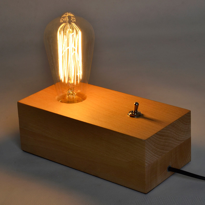 Lampe de table créative de style Loft, lampe de bureau en bois avec interrupteur à bouton-poussoir, abat-jour en verre sans ombre. Haomer