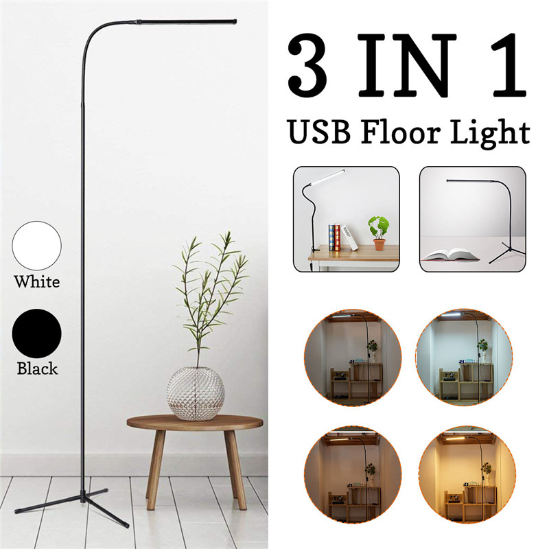 CLAITE 8W Modern Stand Floor Lamp White & Warm White LED Floor Lamp Dimmer USB Desk Reading Light Fixture for Bedroom DecorCLAITE 8W Modern Stand Floor Lamp White & Warm White LED Floor Lamp Dimmer USB Desk Reading Light Fixture for Bedroom Decor