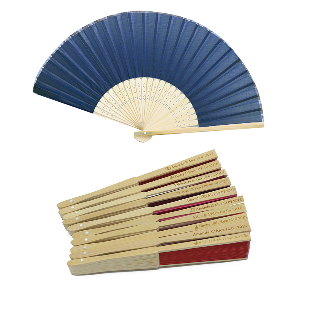10st * Personliga Ladies Bamboo & Raw Silk Hand Folding Fan Utomhus Dans Bröllop Baby Show Födelsedag Dop Party Favoriter