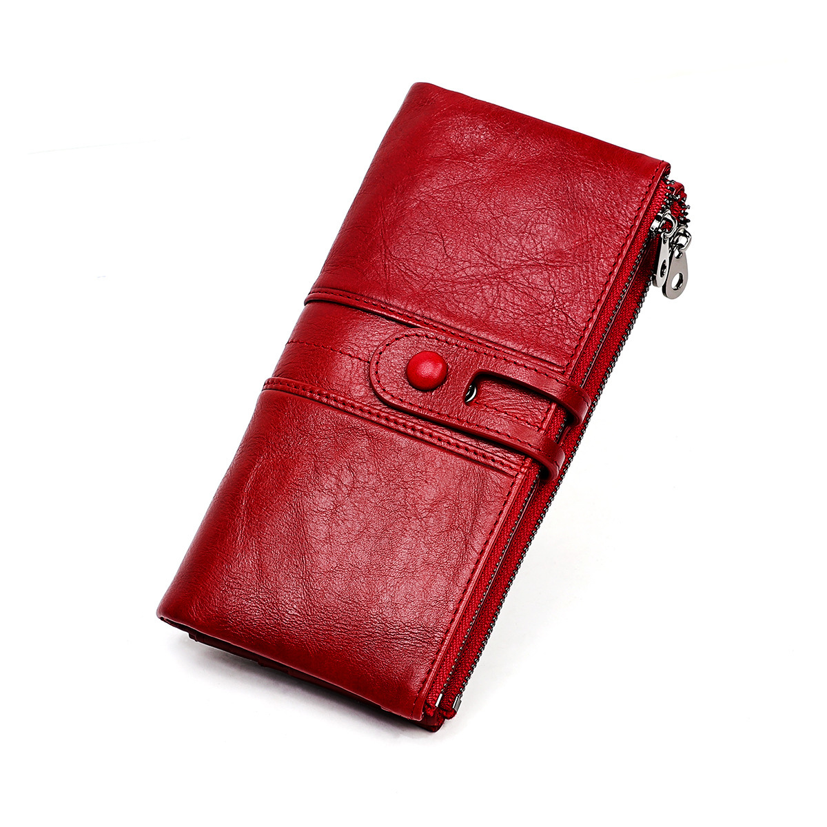 Women Wallets Genuine Leather Wallet Long Money Pocket Female Coin Purse Card Holder Leather Women Carteira Feminina Carteras(China)