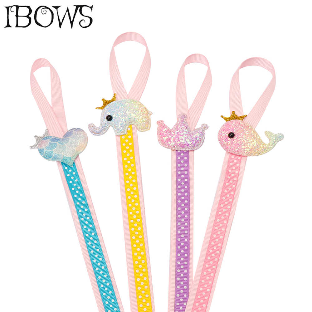 IBows Hair Accessories Hair Bow Organizer For Girls With Glitter Patches Accessories 2 Layes Dots Ribbon Hair Barrettes Holder