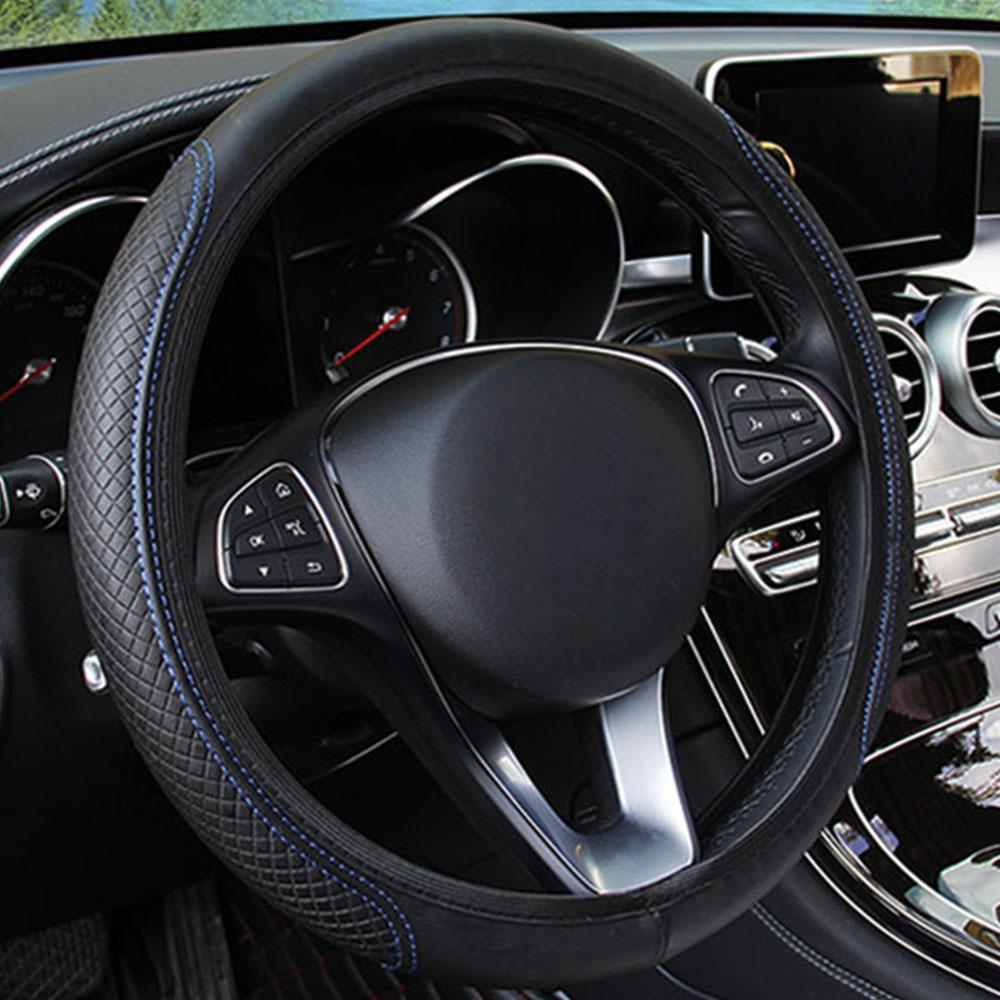 Рулевая намотка на руль наборы блюд Универсальный руль чехлы рулевое колесо дышат свободно 15 дюймов автомобили прочные - Название цвета: black blue