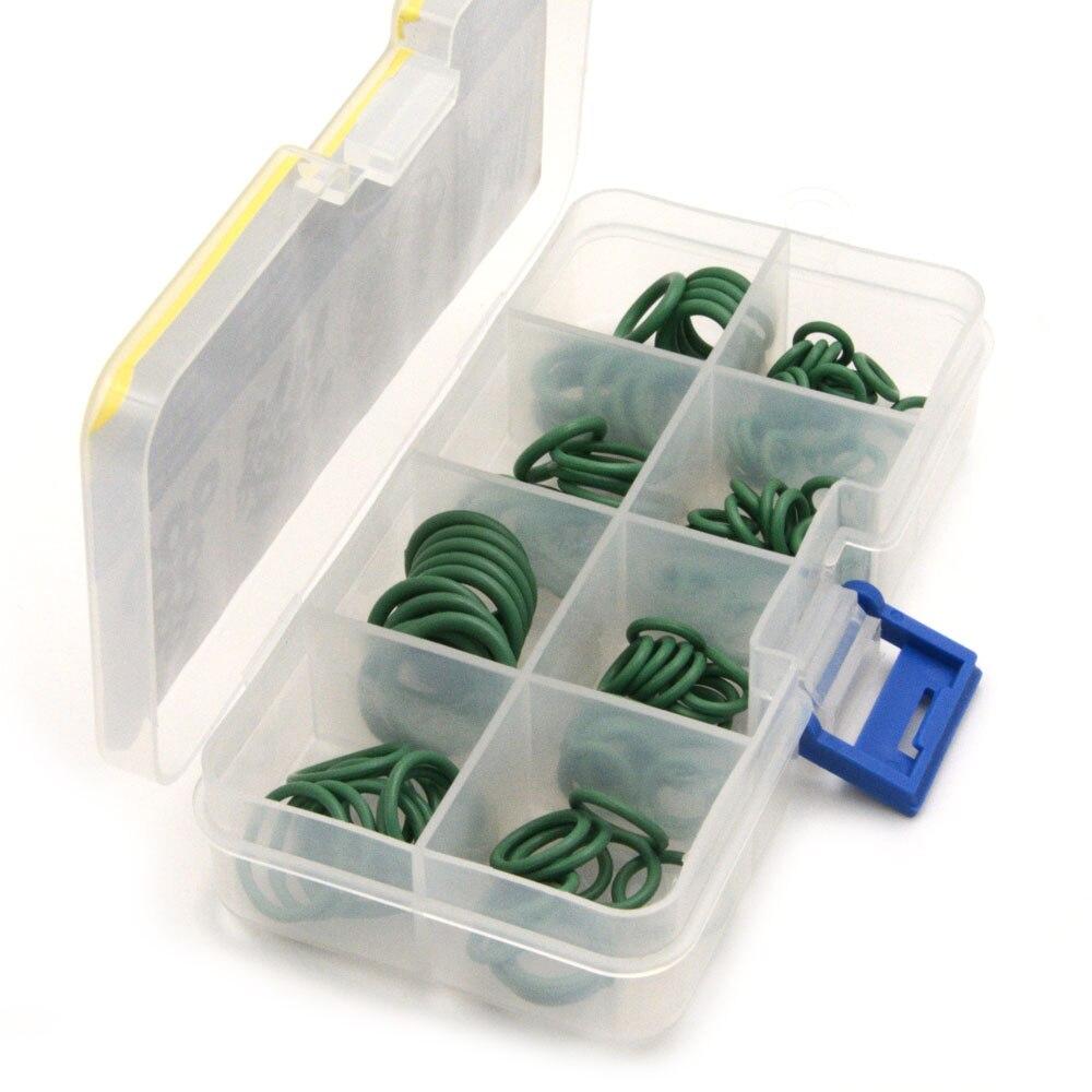 Green 110Pcs HNBR Car Van Air Conditioning Washer O-Ring Seal Set Rubber O ring Assortment Kit