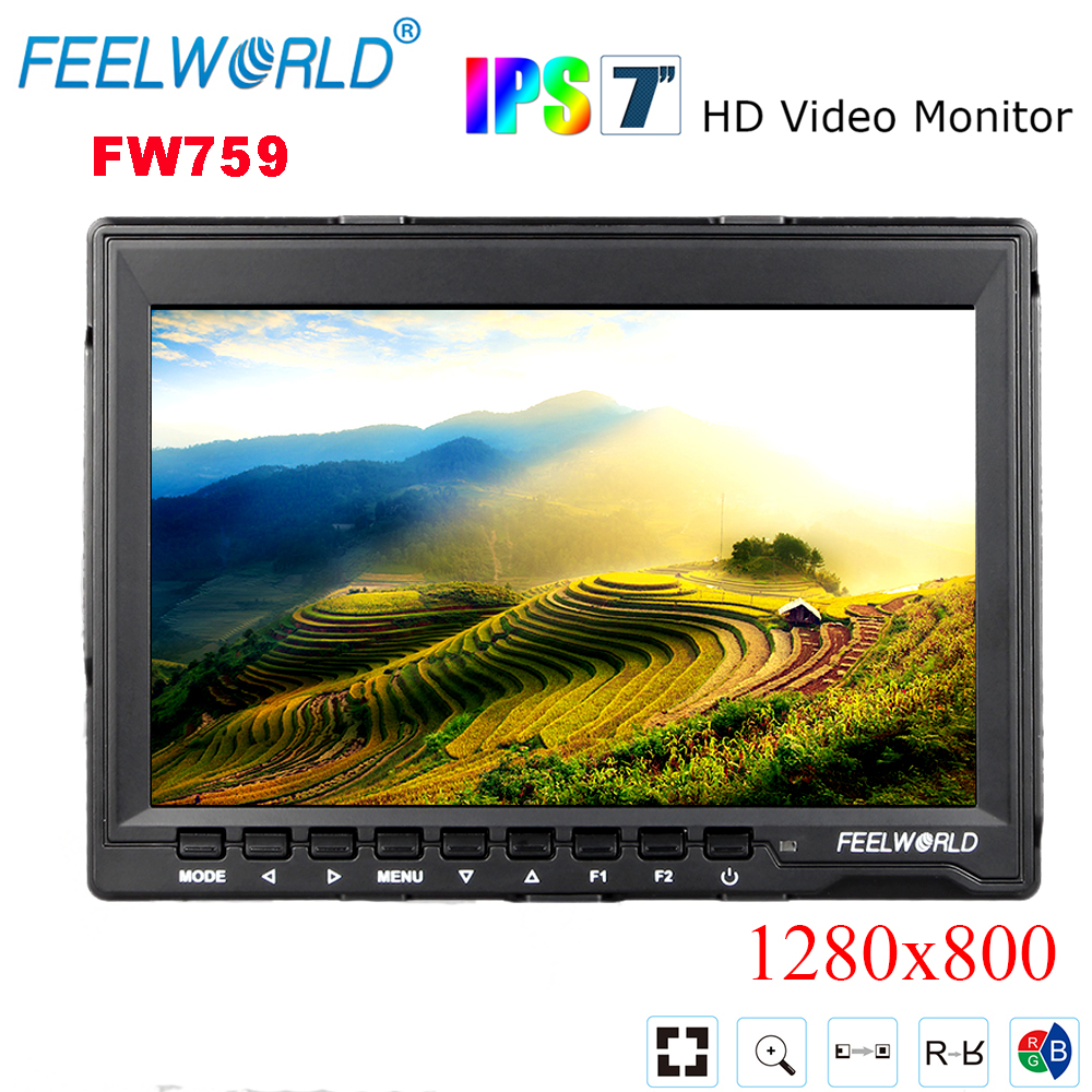 Feelworld FW759 7' DSLR Monitor HD IPS 1280x800 Contrast 800:1 Field LCD Monitor HDMI Input with Sunshade for BMPCC BMCC цена