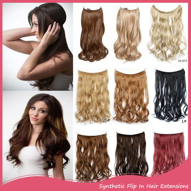Lady Long Wavy Synthetic Hair Extension Women Flip Hair Extensions