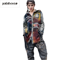Yalabovso 2017 New Women Long Open Shirt Tees Irregular With Gradient Color Long Shirts Patchwork Autumn